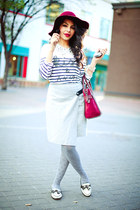 crimson H&M hat - ivory Mason Scoth shirt - silver calvin klein tights