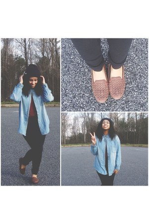 blue denim Forever 21 blouse - crimson burgundy blouse blouse - brown flats