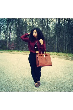 brown Forever 21 flats - brown Michael Kors bag - maroon blouse