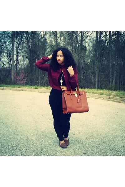 brown Forever 21 flats - brown Michael Kors bag - maroon blouse