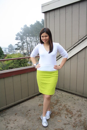white H&M sweater - lime green JCrew skirt - silver Superga sneakers