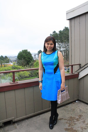 turquoise blue Prabal Gurung dress - bubble gum Armani Exchange bag
