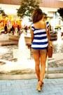 Tawny-cole-vintage-bag-bronze-levis-shorts-navy-prima-donna-heels