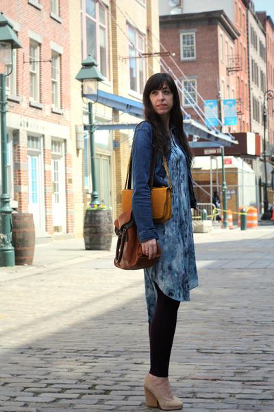 blue robyn denim AG Jeans jacket - sky blue Rebecca Taylor dress