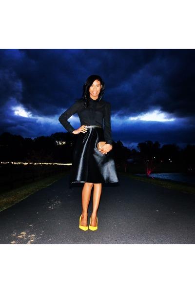 black skirt - yellow Christian Louboutin shoes - black blouse