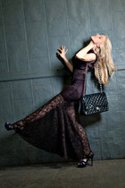 deep purple lace Reiss dress - blue patent leather Chanel bag