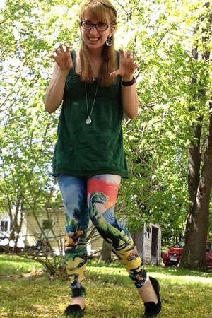 carrot orange leggings - dark green Delias shirt - black Steve Madden flats