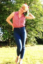 blue high-waisted Forever 21 jeans - red striped Ralph Lauren shirt