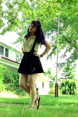 suspender skirt skirt - sheer floral Gap shirt - studded aerosoles sandals