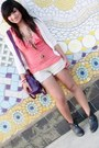 Ross-boots-coral-wet-seal-shirt-purple-ed-hardy-bag-ivory-bloom-cardigan