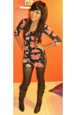 black boots - floral dress dress - black tights