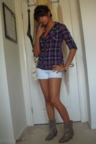 Forever21 shirt - Forever21 t-shirt - DIY shorts - vintage boots - Forever21 bra