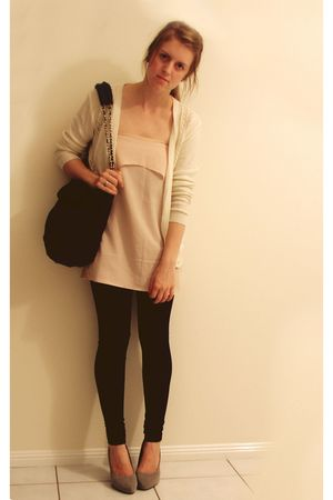 white thrifted cardigan - pink Hand Made dress - black sportsgirl bag thrifted -