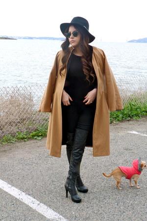 bronze vintage coat - black BCBG boots - black Joes Jeans jeans