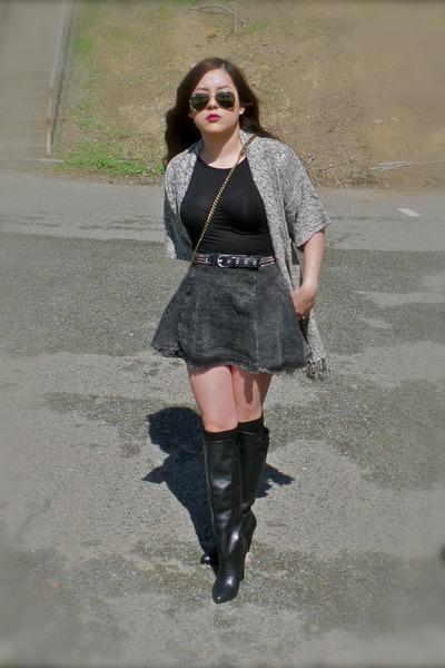 kimono cardigan - black Steve Madden boots - Steve Madden bag