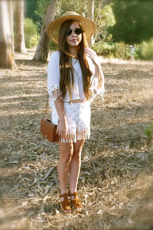 white fringe Marshalls shorts - camel Target hat - brown Zara wedges