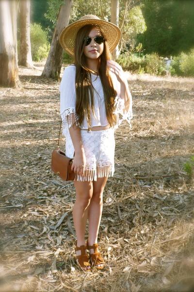 white fringe Marshalls shorts - camel Target hat - brown Zara wedges
