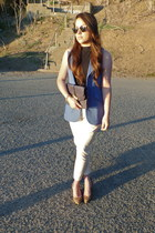 blue thrifted vest - beige Juicy Couture pants - franco sarto wedges