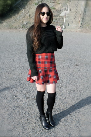 black Urban Outfitters sweater - Anne Klein boots - ruby red Marshalls skirt