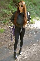 black platform Zara boots - black skinny jeans Levis jeans