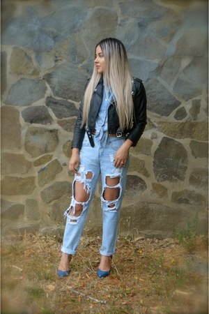 light blue Nasty Gal jeans - black Nasty Gal jacket - navy Aldo heels