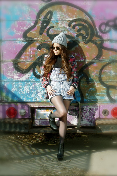 ruby red plaid boutique jacket - black wedges Zara boots - silver beanie H&M hat