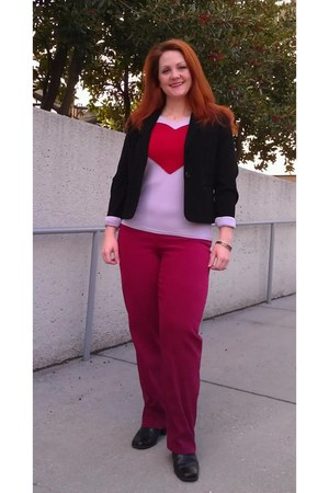 black JCP blazer - ruby red chadwicks pants - pink knit merona top