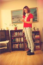 red vintage Ulavit blouse - blue Urban Outfitters jeans - black Urban Outfitters