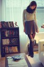 Green-vintage-blouse-dark-gray-vintage-skirt-gray-joe-fresh-style-socks-bl