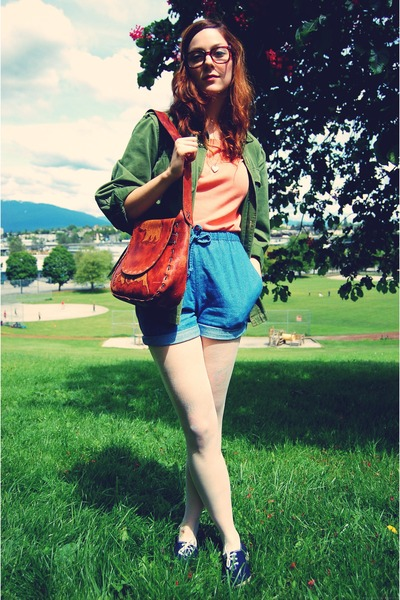 blue thrifted shorts - blue thrifted shoes - green Vintage from Used jacket - th