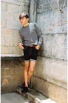 black Levis shorts - black Zara shoes - gray Sisley sweater - orange DIY belt