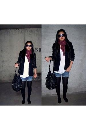 H&M scarf - H&M blazer - Abercrombie shorts - Zara scarf - China top - Zara sung