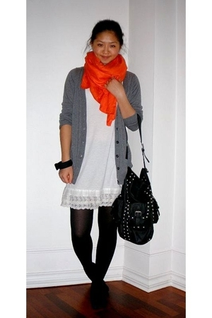 H&M scarf - China dress - Zara purse - Zara jacket - H&M bracelet - HUE stocking