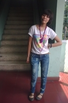 Hanes t-shirt - jeans - I made it necklace - Crocs shoes - Fossil accessories
