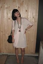 pink dress - black Zara purse - brown Aldo shoes - gold DIY necklace - brown Fos