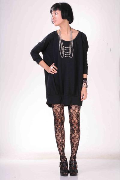 black Online Shop top - black From HK stockings - black H&M shoes