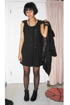 black factory outlet dress - black Marks and Spencers stockings - black From HK