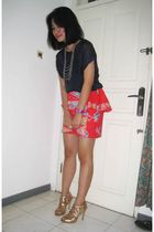 blue top - red DIY skirt - gold Nine West shoes - purple Fossil accessories