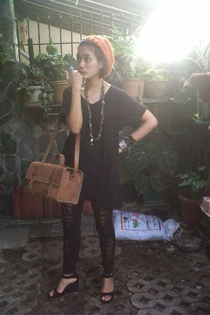 black t-shirt - black I made it leggings - black shoes - brown purse - orange ru