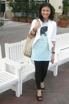 People are People shirt - thrifted blazer - Mango leggings - shoebox shoes