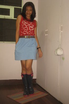 thrifted Agnes B top - thrifted skirt - Gap boots - giordano accessories