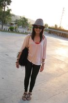 brown shoes - black leggings - red top - black accessories - beige top
