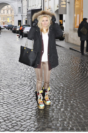 Emilio Pucci boots - Koton coat - Koton leggings - Bally bag - versace gloves
