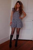 black Pellini dress - black crochet knit tights - black socks