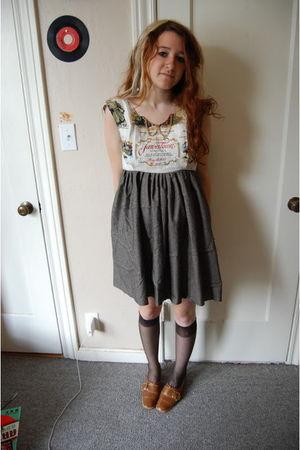 brown rusty cuts dress - black walgreens socks - brown montgomery ward shoes