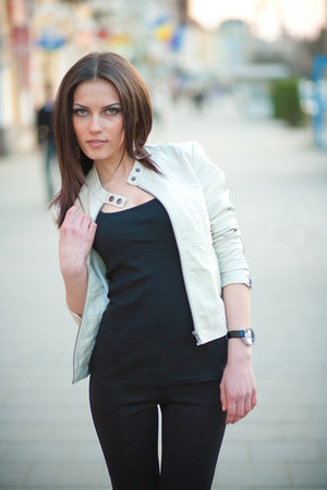 eggshell jacket - black pants