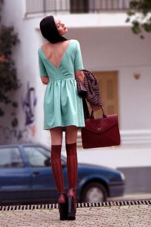 dress - boots - bag