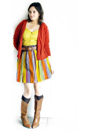 Anthropologie skirt - dark brown No label  boots - burnt orange Mossimo cardigan