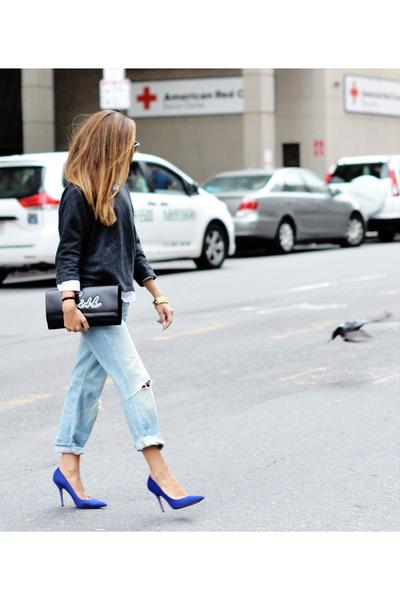 blue heels - light blue jeans