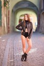 Black-random-brand-boots-black-stradivarius-jacket-black-random-brand-shorts